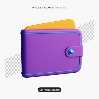 3d ikona portfela na białym tle