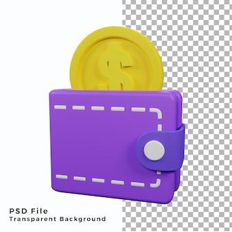 3d ikona portfela z ilustracją monety pieniędzy wysokiej jakości