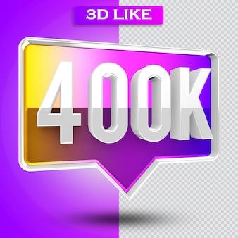 3d ikona renderowania 400k obserwujących na instagramie