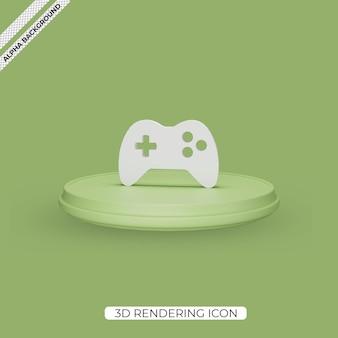 3d ikona renderowania gier na białym tle