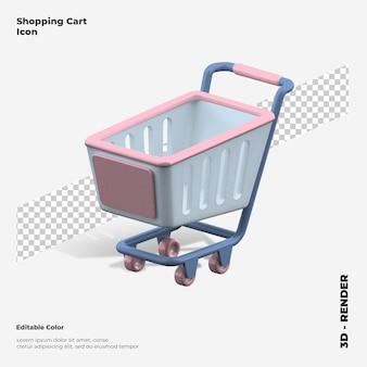 3d ikona renderowania koszyka na zakupy na białym tle