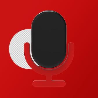 3d ikona renderowania mikrofonu na białym tle