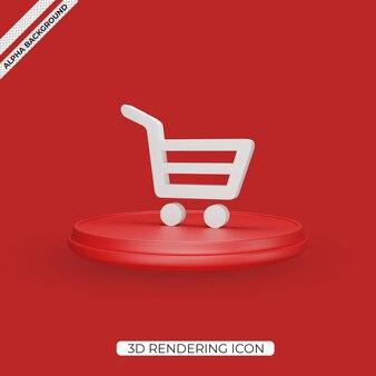 3d ikona renderowania wykresu zakupów na białym tle
