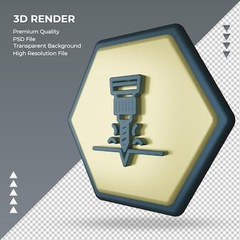 3d ikona renderowania znaku fabryki wierteł, widok z prawej strony