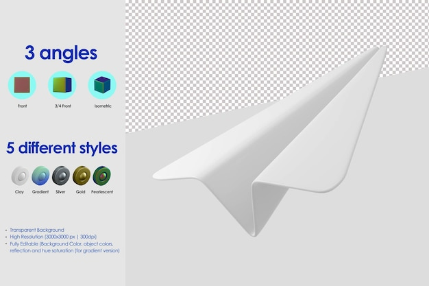 3d ikona samolotu papieru