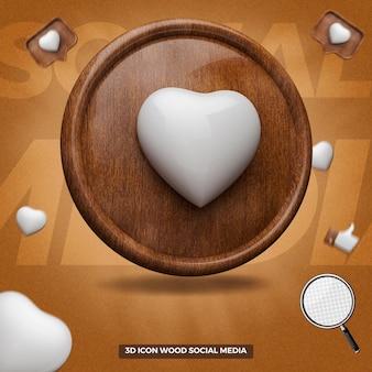 3d ikona serca wytopione w lewym drewnianym kółku