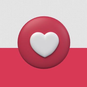 3d ikona serca z czerwonym tłem. renderowanie 3d