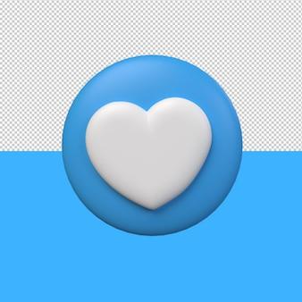 3d ikona serca z niebieskim tłem. renderowanie 3d