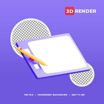 3d ikona tabletu piórkowego z przezroczystym tłem