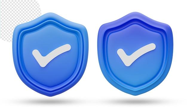 3d ikona tarczy zabezpieczeń lub bezpieczeństwa na białym tle