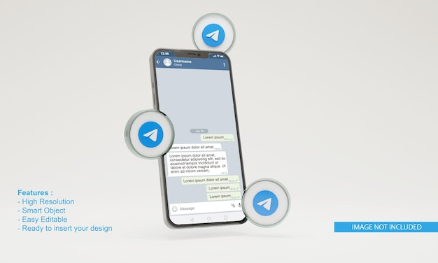 3d ikona telegramu makieta telefonu komórkowego