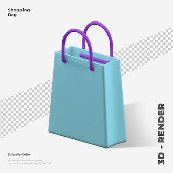 3d ikona torby na zakupy renderowania 3d na białym tle