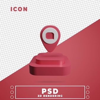 3d ikona z renderowania podium mapy pin na białym tle