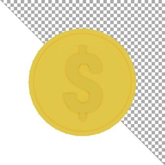 3d ikona złotej monety dolara