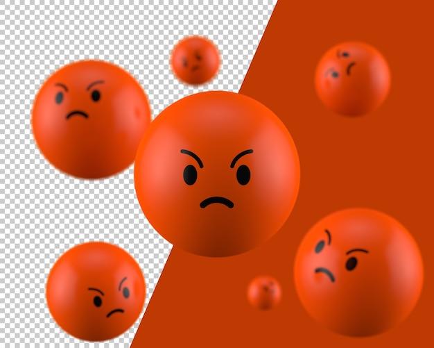 3d ikona zły emotikon