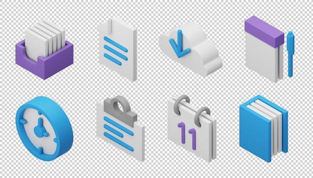 3d ikony biurowe
