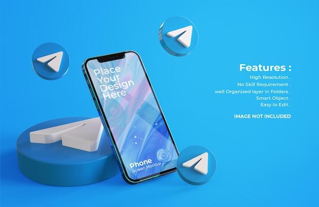 3d ikony telegramu z makietą ekranu mobilnego