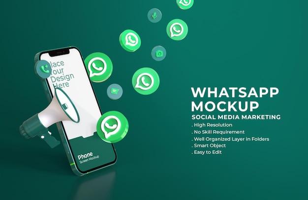 3d ikony whatsapp z makietą ekranu mobilnego i megafonem