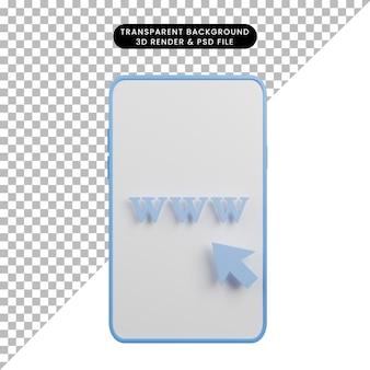 3d ilustracja adresu url strony internetowej www na telefonie komórkowym