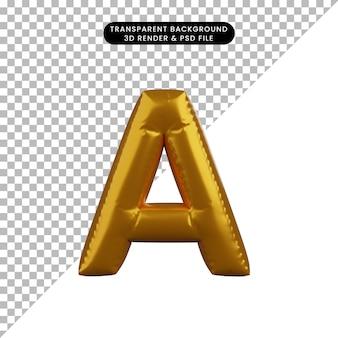 3d ilustracja alfabetu koncepcja złotego balonu a