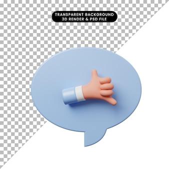 3d ilustracja bańka czatu z chłodem dłoni lub znakiem wywoławczym