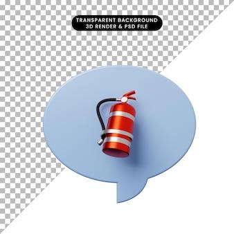 3d ilustracja bańka czatu z gaśnicą