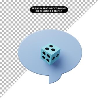 3d ilustracja bańka czatu z kostkami