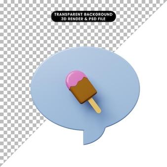 3d ilustracja bańka czatu z lodami