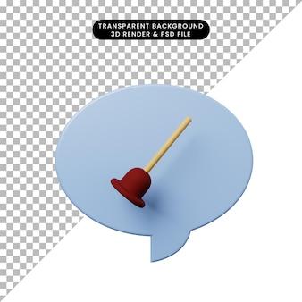 3d ilustracja bańka czatu z muszlą klozetową