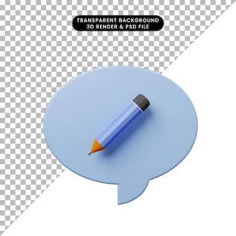 3d ilustracja bańka czatu z ołówkiem