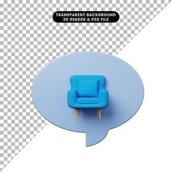 3d ilustracja bańka czatu z pojedynczą sofą