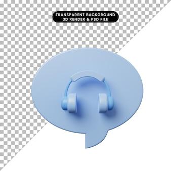 3d ilustracja bańka czatu z zestawem słuchawkowym