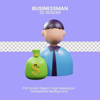 3d ilustracja biznesmena z wolnością finansową