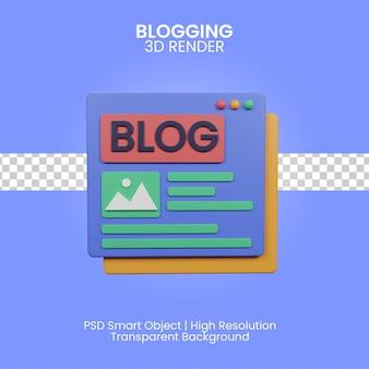 3d ilustracja blogowania na białym tle