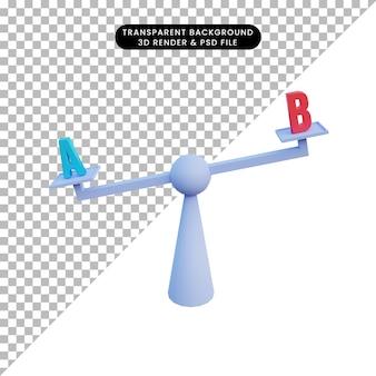 3d ilustracja decyzja skalowania z literą a i b