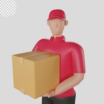 3d ilustracja dostawy człowieka w czerwonej koszuli trzymającego towary klienta. premium psd