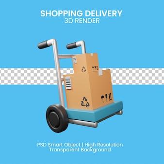 3d ilustracja dostawy zakupów na białym tle