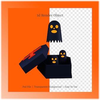 3d ilustracja ducha i trumny z koncepcją dnia halloween