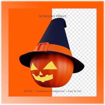 3d ilustracja dyni i kapelusza z koncepcją dnia halloween