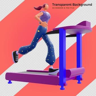 3d ilustracja dziewczyna biega na bieżni