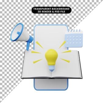 3d ilustracja edukacji online