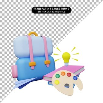 3d ilustracja edukacji z powrotem do szkoły