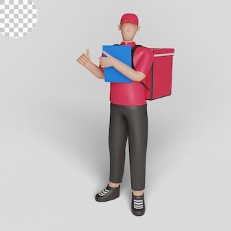 3d ilustracja ekspresowej dostawy kurierskiej profesjonalnej usługi pocztowej psd premium
