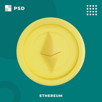 3d ilustracja ethereum