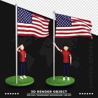 3d ilustracja flaga stanów zjednoczonych z postaciami z kreskówek ślicznych ludzi. renderowania 3d.