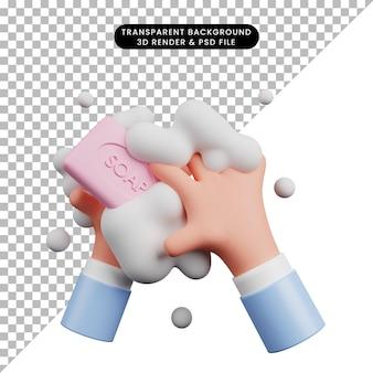 3d ilustracja globalnego dnia mycia rąk ręką 3d