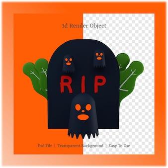 3d ilustracja grobu i ducha z koncepcją dnia halloween
