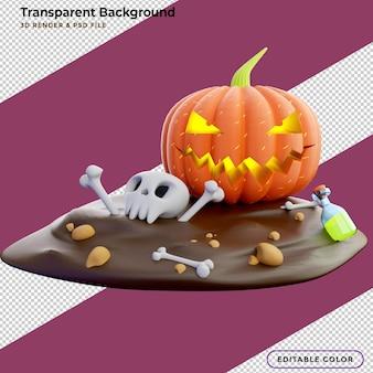 3d ilustracja halloweenowy plakat z dyniami i innymi tradycyjnymi halloween