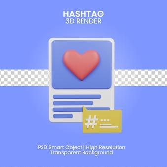 3d ilustracja hashtag na białym tle