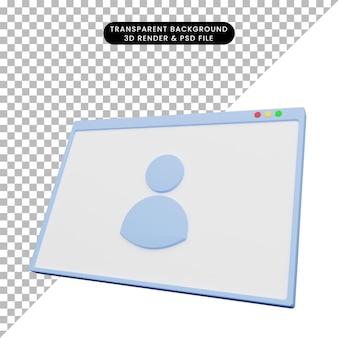 3d ilustracja ilustracji internetowej z ikoną ludzi